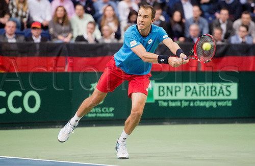 04.03.2016. Hannover, Germany.  Czech Republic's Lukas Rosol in action during the Tennis match against Germany's Philipp Kohlschreiber at the World Group 1st Round of the Davis Cup in the TUI arena in Hanover, Germany, 4 March 2016.