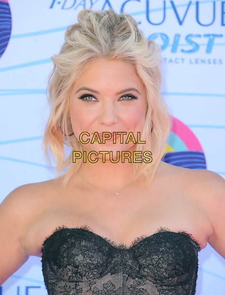 Ashley Benson.FOX's 2012 Teen Choice Awards held at The Gibson Ampitheatre in Universal City, California, USA..July 22nd, 2012          .headshot portrait black strapless lace top         .CAP/RKE/DVS.©DVS/RockinExposures/Capital Pictures.