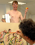 """Newsday reporter, Erik Holm posing at posing on Wednesday july 7, 2004, to demonstrate his experience as a figure model  for """"Short Pose- Nude Workshop"""" group at the Art League of Long Island in Dix Hills. (Newsday Photo / Jim Peppler)."""