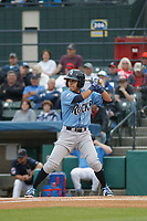 Wilmington Blue Rocks shortstop Nicky Lopez (7) at bat during a game against the Myrtle Beach Pelicans at Ticketreturn Field at Pelicans Ballpark on April 25, 2017 in Myrtle Beach, South Carolina. Myrtle Beach defeated Wilmington 7-6. (Robert Gurganus/Four Seam Images)