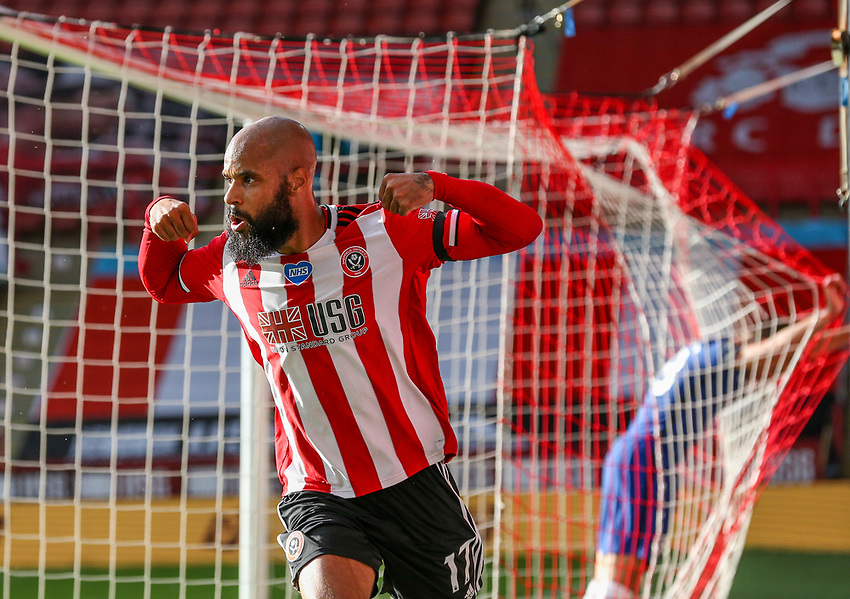 Sheffield United's David McGoldrick celebrates scoring his side's third goal  <br /> <br /> Photographer Alex Dodd/CameraSport<br /> <br /> The Premier League - Sheffield United v Chelsea - Saturday 11th July 2020 - Bramall Lane - Sheffield<br /> <br /> World Copyright © 2020 CameraSport. All rights reserved. 43 Linden Ave. Countesthorpe. Leicester. England. LE8 5PG - Tel: +44 (0) 116 277 4147 - admin@camerasport.com - www.camerasport.com