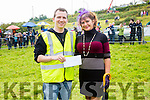 Jeffrey Quirke presenting the best Best Dressed Lady prize to Sophie Syed from Waterville at the Cahersiveen Races on Sunday sponsored by The Fertha Bar, Cahersiveen.