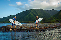 Teahupoo, Tahiti Iti, French Polynesia. Tuesday 14 August 2012. Adam Melling (AUS) and  Kai Otten (AUS) after a surf.  The swell had backed off today to around 2' and an onshore NW wind made Teahupoo virtually unsurfable. Photo: joliphotos.com
