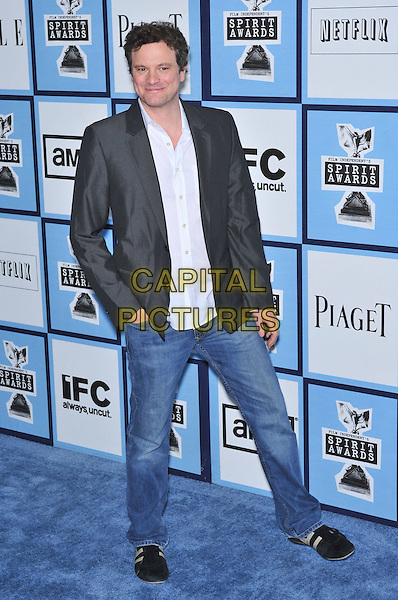 COLIN FIRTH.23rd Film Independent Spirit Awards held at the Santa Monica Beach, Santa Monica, California, USA,.23 February 2008..full length black jacket jeans .CAP/ADM/GB .?Gary Boas/Admedia/Capital Pictures