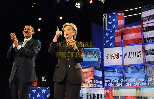 Barack Obama & Hillary Clinton at The CNN, LA Times, POLITICO.Democratic Presidential Debate held at The Kodak Theatre in Hollywood, California on January 31,2008                                                                     Copyright 2007 Debbie VanStory/RockinExposures