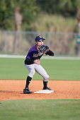 December 30, 2009:  Ian Smith (4) of the Baseball Factory Tigers team during the Pirate City Baseball Camp & Tournament at Pirate City in Bradenton, Florida.  (Copyright Mike Janes Photography)