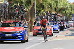 Heinrich Haussler (AUS) Bahrain-Merida amongst the team cars as they pass through Almussafes during Stage 4 of La Vuelta 2019 running 175.5km from Cullera to El Puig, Spain. 27th August 2019.<br /> Picture: Eoin Clarke | Cyclefile<br /> <br /> All photos usage must carry mandatory copyright credit (© Cyclefile | Eoin Clarke)
