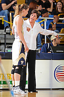 28 January 2012:  FIU Head Coach Cindy Russo speaks with .FIU guard Zsofia Labady (3) in the first half as the FIU Golden Panthers defeated the Western Kentucky University Hilltoppers, 60-56, at the U.S. Century Bank Arena in Miami, Florida.