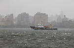 A ship goes north by the Hudson River as Hurricane Sandy begins to affect the area in Hoboken United States. 29/10/2012. Photo by Kena Betancur/VIEWpress..