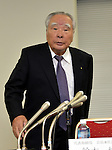 May 9, 2013, Tokyo, Japan - Chairman Osamu Suzuki of Suzuki Motor Corp. arruves for a news conference in Tokyo on Thursday, May 9, 2013. Helped by record vehicle sales at home and in Asia, Japan's No. 4 automaker Suzuki booked a record 80.4 billion yen in net profit, up 49.2 percent year-on-year.  (Photo by Natsuki Sakai/AFLO)