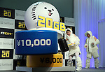 "September 8, 2016, Tokyo, Japan - Female wrestling Olympic medalist Kyoko Hamaguchi knocks a 10,000 yen part away with a large hammer as she announces Softbank's new rate plan ""Giga monster"", 20GB for 6,000 yen per month in Tokyo on Thursday, September 8, 2016. Softbank also annouced they will start the fifth generation (5G) mobile communication service Massive MIMO in this month    (Photo by Yoshio Tsunoda/AFLO) LWX -ytd-"