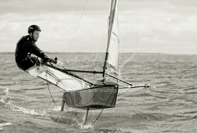 First flying session on a foiling Moth for Francois Gabart.<br /> Fran&ccedil;ois Gabart (born 23 March 1983 in Saint-Michel-d'Entraygues, France) is a French professional offshore yacht racer who won the 2012-13 Vend&eacute;e Globe in 78 days 2 hours 16 minutes, setting a new race record.