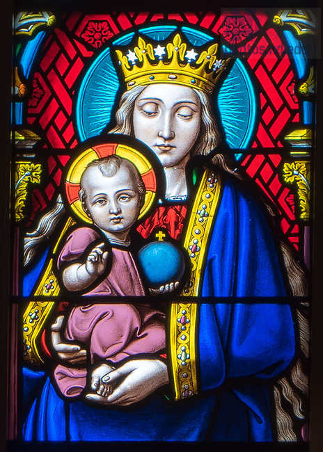 Oct. 27, 2014; Stained glass window in the Basilica of the Sacred Heart depicting Mary hold the Child Jesus. (Photo by Matt Cashore/University of Notre Dame)