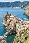 An elevated view of the pretty coastal town of Vernazza in Cinque Terre, Italy.
