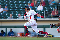 Mesa Solar Sox second baseman Jahmai Jones (9), of the Los Angeles Angels organization, follows through on his swing during an Arizona Fall League game against the Surprise Saguaros at Sloan Park on November 1, 2018 in Mesa, Arizona. Surprise defeated Mesa 5-4 . (Zachary Lucy/Four Seam Images)
