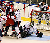 January 9th, 2009:  Mike Brodeur (29) of the Rochester Amerks makes a save vs. the Syracuse Crunch at Blue Cross Arena in Rochester, NY.  Rochester defeated Syracuse 3-1 for their third straight win.  Photo Copyright Mike Janes Photography 2009