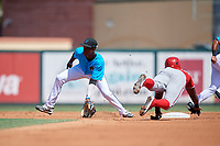 Miami Marlins shortstop Ian Lewis (8) fields a throw from the catcher as Rafael Bautista (9) steals second base during an Instructional League game against the Washington Nationals on September 25, 2019 at Roger Dean Chevrolet Stadium in Jupiter, Florida.  (Mike Janes/Four Seam Images)