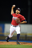 Mississippi Braves pitcher Jorge Reyes (23) delivers a pitch during a game against the Pensacola Blue Wahoos on May 28, 2015 at Trustmark Park in Pearl, Mississippi.  Mississippi defeated Pensacola 4-2.  (Mike Janes/Four Seam Images)