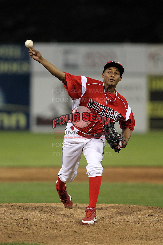 Batavia Muckdogs pitcher Yunier Castillo #40 during an exhibition game against the Newark Pilots of the Perfect Game Collegiate Baseball Lague at Dwyer Stadium on June 15, 2012 in Batavia, New York.  Batavia defeated Newark 8-0.  (Mike Janes/Four Seam Images)
