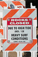 Laguna Beach CA, Beach Closed Sign, seaside resort, artist community, located in southern, Orange County, California, United States