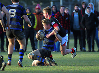 Action from the UC Championship 1st XV rugby match between Christchurch Boys' High School and St Bede's College at Christchurch BHS in Christchurch, New Zealand on Saturday, 6 July 2019. Photo: Dave Lintott / lintottphoto.co.nz