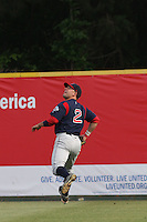 Right fielder Ryan Kalish of the Salem Red Sox going back on a fly ball against  the Myrtle Beach Pelicans on May 3, 2009
