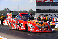 Aug. 17, 2013; Brainerd, MN, USA: NHRA funny car driver Chad Head during qualifying for the Lucas Oil Nationals at Brainerd International Raceway. Mandatory Credit: Mark J. Rebilas-