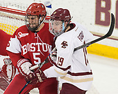 Chad Krys (BU - 5), Ryan Fitzgerald (BC - 19) - The visiting Boston University Terriers defeated the Boston College Eagles 3-0 on Monday, January 16, 2017, at Kelley Rink in Conte Forum in Chestnut Hill, Massachusetts.