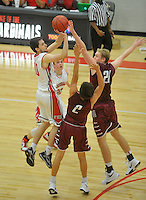 NWA Democrat-Gazette/MICHAEL WOODS &bull; @NWAMICHAELW<br /> Matt Thomas (10), Farmington guard, pulls up to hit a three point shot at the buzzer Tuesday November 17, 2015 over Springdale defenders David Carachure (2) and Kyler Mahar (21) to force an overtime period during their game in Farmington.