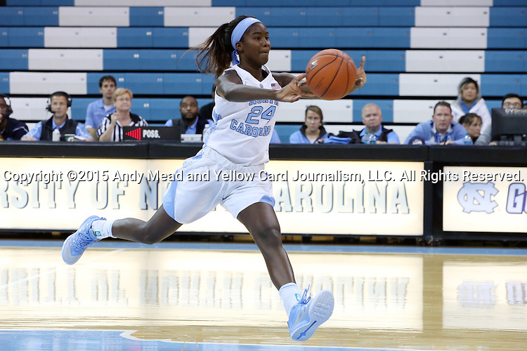 09 November 2015: North Carolina's Destinee Walker. The University of North Carolina Tar Heels hosted the University of Mount Olive Trojans at Carmichael Arena in Chapel Hill, North Carolina in a 2015-16 NCAA Women's Basketball exhibition game. UNC won the game 99-45.