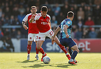 Fleetwood Town's Harrison Biggins competing with Wycombe Wanderers' Matthew Bloomfield <br /> <br /> Photographer Andrew Kearns/CameraSport<br /> <br /> The EFL Sky Bet League One - Wycombe Wanderers v Fleetwood Town - Saturday 4th May 2019 - Adams Park - Wycombe<br /> <br /> World Copyright © 2019 CameraSport. All rights reserved. 43 Linden Ave. Countesthorpe. Leicester. England. LE8 5PG - Tel: +44 (0) 116 277 4147 - admin@camerasport.com - www.camerasport.com