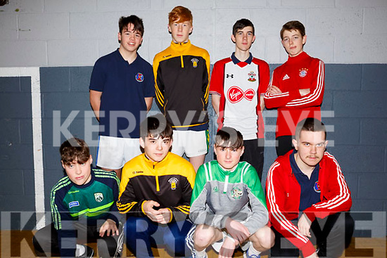 Causeway Comprenhensive School students, front l to r, Mossie Gaynor, Rory Donavan, Aidan O'Connor, Danny Duggan, Standing, Conor O'Sullivan, Mikey Clifford, Tiernan Quirke and Jack Thornton attending the Spike Ball blitz at the Tralee Sports Complex on Thursday last.