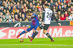 Jose Paulo Bezerra Maciel Junior, Paulinho, of FC Barcelona  competes for the ball with Ezequiel Garay of Valencia CF during the La Liga 2017-18 match between Valencia CF and FC Barcelona at Estadio de Mestalla on November 26 2017 in Valencia, Spain. Photo by Maria Jose Segovia Carmona / Power Sport Images