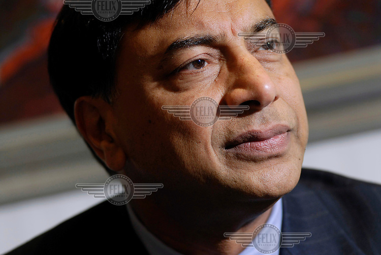 Lakshmi Mittal, owner of Mittal Steel, in his London office.