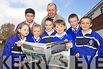 Students from CBS Primary School, Clounalour, who presented their first CBS Newspaper 'Goss from the Cross' at the School on Friday were l-r: Kelsey O'Mahony, Gary Clifford, Chloe Quinlan, Joshua Lynch, Denis Coleman (Principal) Jamie Carroll, Killian Keating and Josh Quirke...