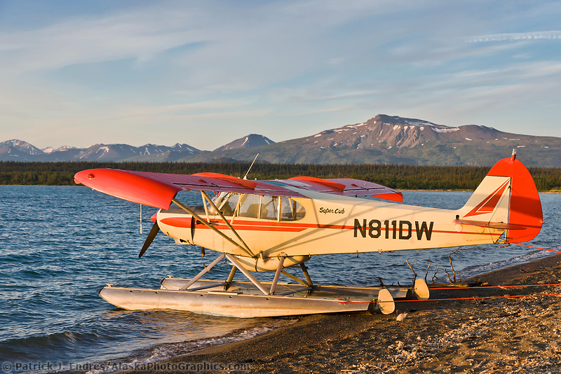 Bush plane on floats on Naknek lake, Katmai National Park,