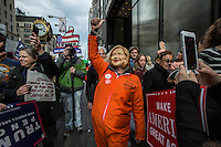 NEW YORK,NY October 29,2016. A woman wears a Hillary costume during  a rally for Donald Trump outside of Trump Tower in Manhattan, October 29,2016. Photo by VIEWpress/Maite H. Mateo