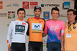 World Champion Alejandro Valverde (ESP) Movistar Team wins the overall general classification with White Jersey Ivan Sosa (COL) Team Ineos 2nd and Rigoberto Uran (COL) EF Education First 3rd at the end of Stage 4 of the Route d'Occitanie 2019, running 154.8km from Gers - Astarac Arros en Gascogne to Clermont-Pouyguillès, France. 23rd June 2019<br /> Picture: Colin Flockton | Cyclefile<br /> All photos usage must carry mandatory copyright credit (© Cyclefile | Colin Flockton)