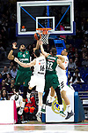 Zalgiris' Brandon Davies, Real Madrid's Santiago Yusta, Zalgiris' Edgaras Ulanovas and Real Madrid's Gustavo Ayon during Euroligue match between Real Madrid and Zalgiris Kaunas at Wizink Center in Madrid, Spain. April 4, 2019.  (ALTERPHOTOS/Alconada)