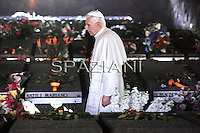 Fosse Ardeatine site Pope Benedict XVI visits the on March 27, 2011 in Rome