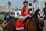 HALLANDALE BEACH, FL  JANUARY 27: #7 Fear the Cowboy, ridden by Efren Loza, Jr., in the post parade of the Pegasus World Cup Invitational, at Gulfstream Park Race Track on January 27, 2018,  in Hallandale Beach, Florida. (Photo by Casey Phillips/ Eclipse Sportswire/ Getty Images)