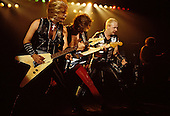 Judas Priest - L-R: KK Downing, Glenn Tipton, Rob Halford - performing live the Metal Conqueror Tour at the Jaap Edenhall in Amsterdam Netherlands - 27 Jan 1984.  Photo credit: IconicPix