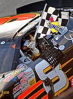 Sept 19, 2008; Dover, DE, USA; NASCAR Camping World Series East driver Aric Almirola celebrates after winning the Sunoco 150 at Dover International Speedway. Mandatory Credit: Mark J. Rebilas-