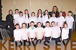 Scoil Mhuire, Knocknagoshel choir at the 2014 Peace Proms in the INEC on Sunday front row l-r: Amy Walsh, Kayleigh Duncan, Sean Mangan, Niall O'Shea, Sean Collins, Matthew O'Connor, Lisa Curtin. Back row: Patricia Cusack, jack Glynn, Emma Walsh, Aine Poff, Joanna Browne, Lucia collins, Ava Flaherty,Máire Collins Principal  Sarah Jayne Walsh, and Ruth Cahill