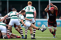 Luke Carter of Ealing Trailfinders box-kicks the ball. Pre-season friendly match, between Ealing Trailfinders and the Dragons on August 11, 2018 at the Trailfinders Sports Ground in London, England. Photo by: Patrick Khachfe / Onside Images