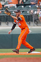 Oklahoma State Cowboys first baseman Tanner Krietemeier #16 waits for a throw to first base during the NCAA baseball game against the Texas Longhorns on April 26, 2014 at UFCU Disch–Falk Field in Austin, Texas. The Cowboys defeated the Longhorns 2-1. (Andrew Woolley/Four Seam Images)
