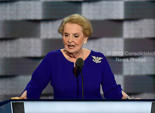 Former United States Secretary of State Madeleine Albright makes remarks during the second session of the 2016 Democratic National Convention at the Wells Fargo Center in Philadelphia, Pennsylvania on Tuesday, July 26, 2016.<br /> Credit: Ron Sachs / CNP<br /> (RESTRICTION: NO New York or New Jersey Newspapers or newspapers within a 75 mile radius of New York City)