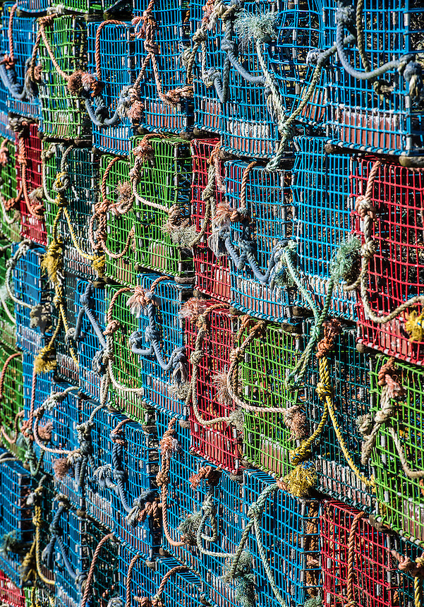 Stack of lobster traps, Corea, Maine, USA