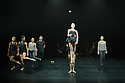 London, UK. 13.01.2015. Gandini Juggling in dress rehearsal of 4 x 4 Ephemeral Architectures, in the Linbury Studio, at the Royal Opera House, as  part of the London International Mime Festival. Dancers are: Kieran Stonely, Kate Byrne, Erin O'Toole, Joe Bishop. Jugglers are: Kim Huynh, Sakari Mannisto, Owen Reynolds, Kati Yla-Hokkala.. Photograph © Jane Hobson.