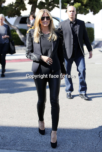 "Heidi Klum hits the sidewalk in sky high pumps and with tight leather pants and cool rhinestone encrusted blazer jacket while filming new scenes for her German TV Show ""Germany's Next Topmodel"" on Rodeo Drive in Beverly Hills today. Los Angeles, California on February 12, 2013...Credit: Vida/face to face"